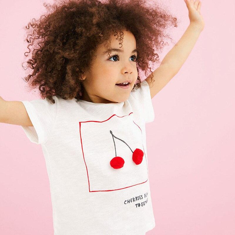 Little maven 2-7Years Cute Girls Short Sleeve T Shirt For Summer Children Kids Girl's Clothes Cherry Letter Pattern O Neck Shirt