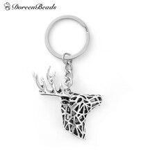 "DoreenBeads 3D & Schlüsselanhänger Schlüsselanhänger Deer Tier antique silver farbe Weihnachtsgeschenk 8,8 cm (3 4/8 ""), 1 Stück"