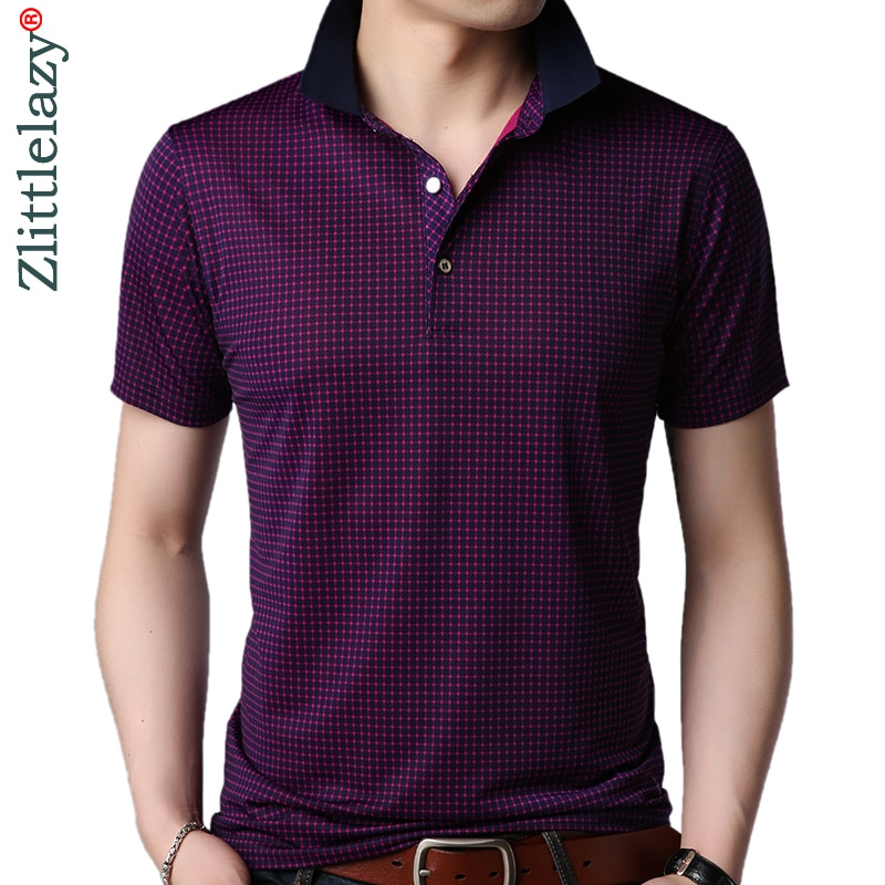 2019 fashions kurzarm polo shirt männer kleidung herren slim fit plaid pol t-shirts polo sommer polos streetwear 8878