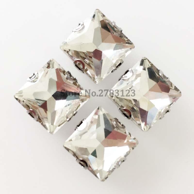 Resistente a los arañazos D garra forma de cuadrado blanca parte posterior plana de cristal de alta calidad para coser diamantes de imitación 20 unids/bolsa envío gratis