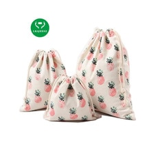Sac de rangement de jouets denfants   Sac de rangement de jouets pour la maison, tissu anti-poussière de coton imprimé dananas 3 pièces/ensemble