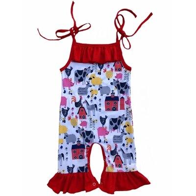 Mono estampado de granja para bebé niña, pijamas de Flamenco de verano, mono Floral, mono de rayas, mono Capri con volantes, ropa para bebé, disfraz