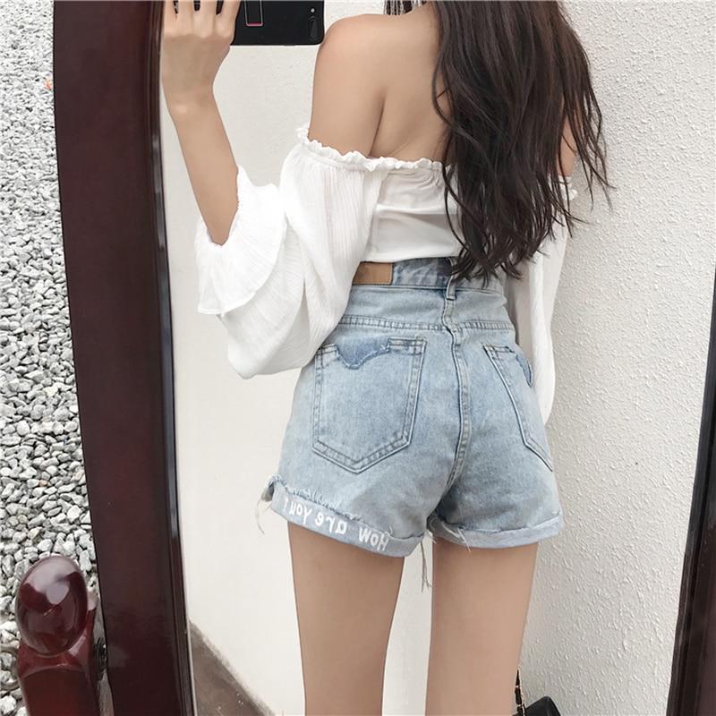 Shorts Women 2019 Summer Casual High Waist Denim Short Jeans Ripped Hole Ladies Sexy Shorts Femme Hot