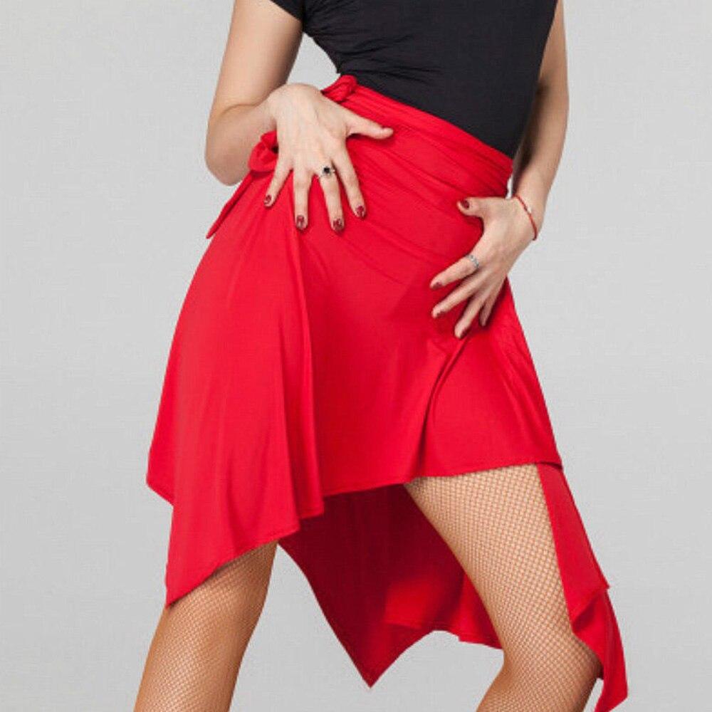 Falda asimétrica de baile para Samba latina, Tango rumba y Chacha, para mujer, salón de baile, Salsa, bufanda, falda, una pieza, faldas de fiesta con volantes
