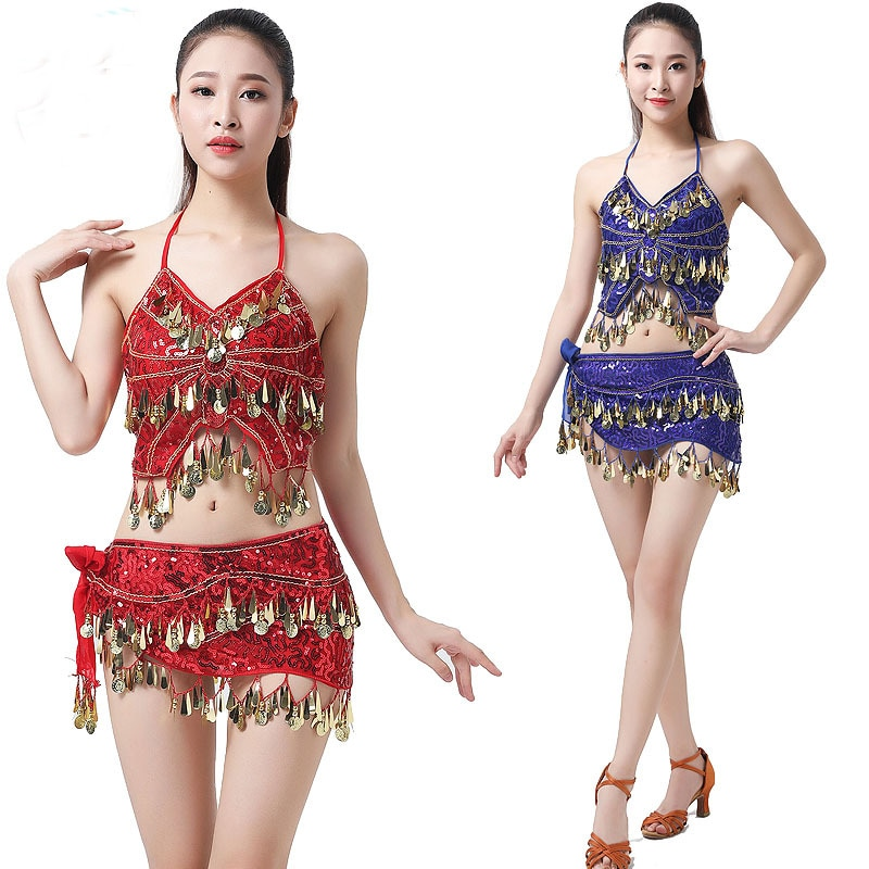 2pcs Belly Dancing Costume Party Sequins Coins Club Wear Outfits Stage Dance Show Performance Carniv
