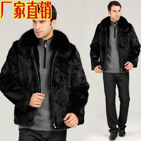 معطف شتوي من فرو الأرانب للرجال ، جاكيت من الفرو الصناعي ، مقاس كبير ، ملابس رجالية متوسطة طويلة ، معطف أسود دافئ ، ملابس خارجية