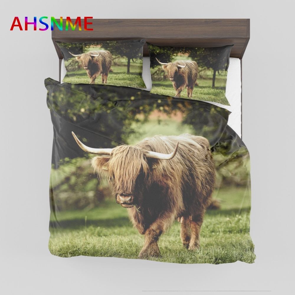 AHSNME الياك البري أغطية ستوكات غطاء لحاف مجموعة المخدة 3 قطعة Bedlinens الماشية الفراش مجموعات 3d لحاف يغطي