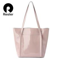 REALER kobiet torba na ramię dużego ciężaru torby kobiece torebki dla kobiet projektant wysokiej jakości lato miękka skóra lakierowana dla pań 2020
