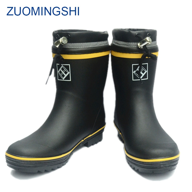 Botas de lluvia de goma de invierno para hombre, botas de pesca para hombre, zapatos impermeables antideslizantes para exteriores, botas de invierno para hombre, botas de nieve para hombre