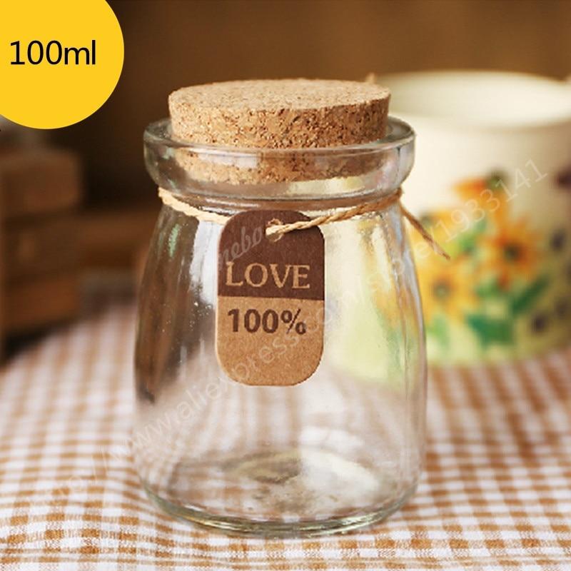 500 unids/lote DIY botella de levitación para Pudding Mini botellas de vidrio con corcho claro 100ml tarro de leche
