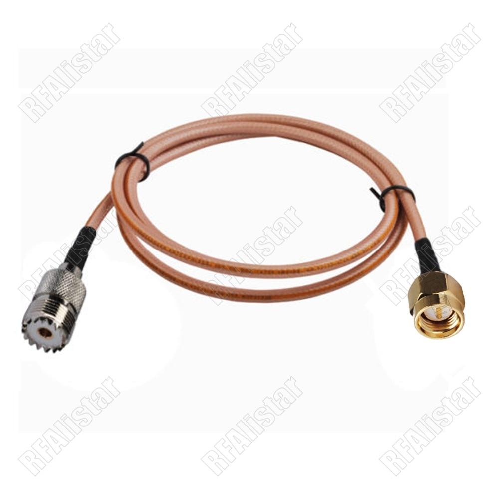 Коаксиальный кабель переходник со штекером SMA на гнездо UHF SO239 RG400 30 см/50 см/1 м/2 м/3