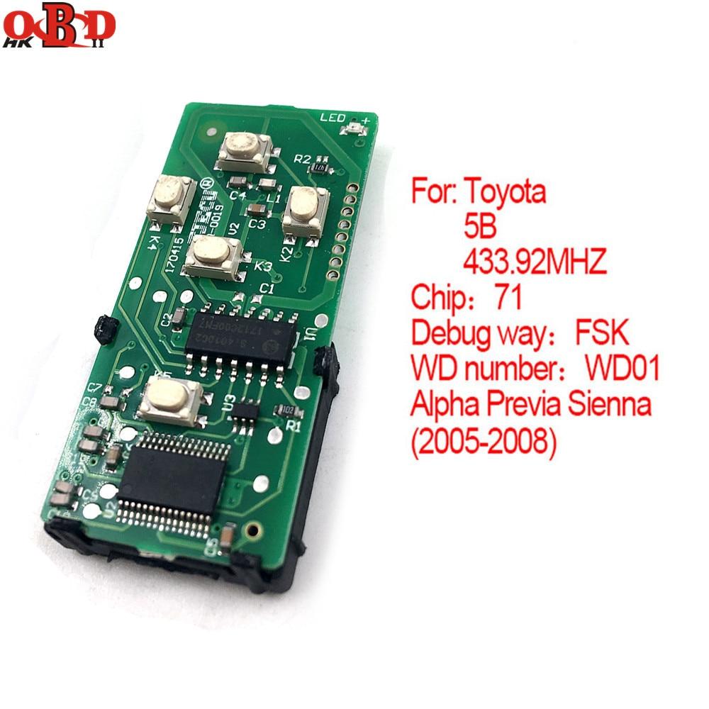 HKOBDII 2005-2008 control remoto inteligente Board 433,92 MHz para Toyota alfa Previa Sienna WD01 (271451-6221-Eur)