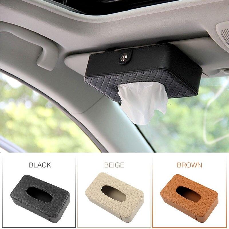 Cuero de la PU tejido caja soporte para pañuelos de automóvil visera de sol colgante de almacenaje de pañuelos caja para Auto organizador Accesorios