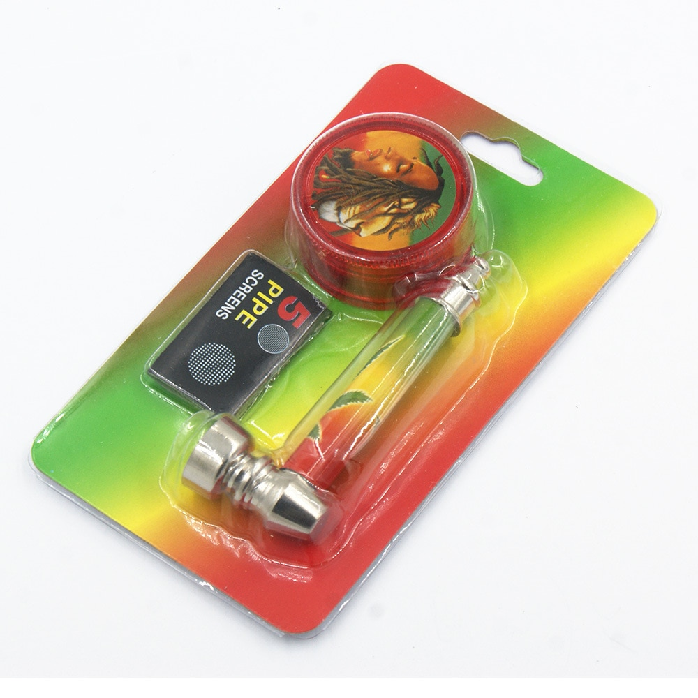 Conjunto de Fumar Cachimbo Metal Cachimbos Fumar Narguile Jamaica Bocal Tubo de Tabaco Do Cachimbo de água Com Moedor E Tela