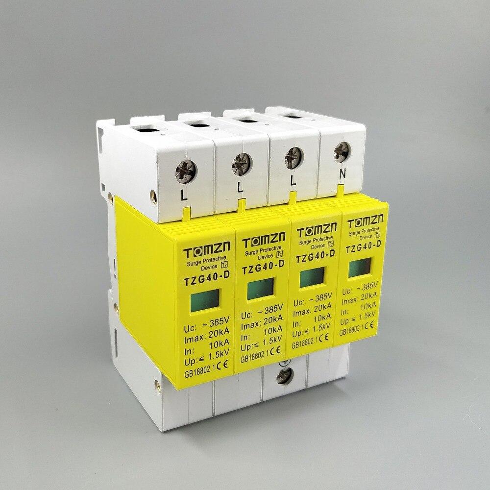 AC SPD 3P + N 10KA 2020ka D 385V casa protección contra sobretensiones Dispositivo de descargador de bajo voltaje