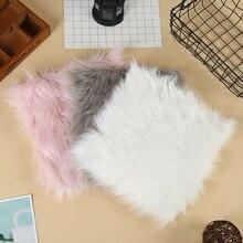 Heißer verkauf Faux Schaffell Stuhl Abdeckung 3 Farben Warme Haarige Wolle Teppich Sitz Pad lange Haut Pelz Plain Flauschigen Bereich teppiche Waschbar