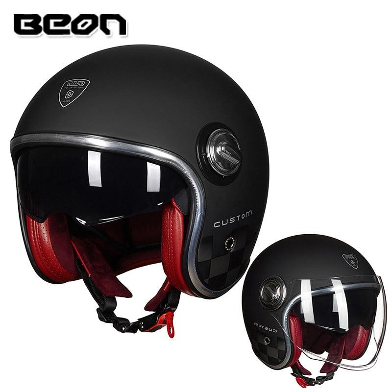 خوذة B108A من بيون خوذة الدراجات النارية BEON 3/4 مفتوحة الوجه بعدسات مزدوجة قناع خوذات عتيقة خوذة الدراجات النارية خوذة الدراجات النارية