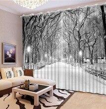 Photo Personnaliser taille blackout rideaux pour le salon dhiver paysage de neige rideaux pour fenêtre scène de nuit