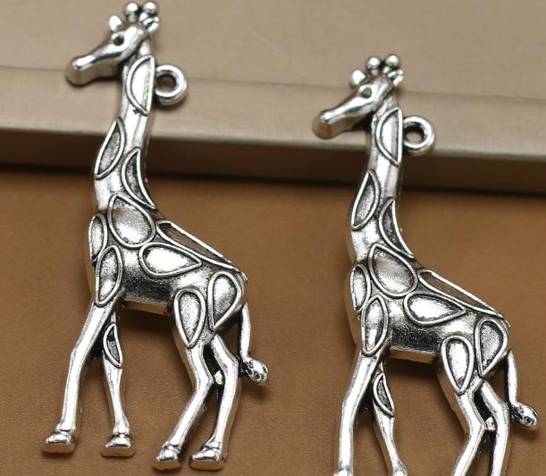 40 piezas exquisita jirafa encanto colgantes 54*22mm 4,7g plata antigua regalo para niños artesanía joyería pendiente collar de la pulsera