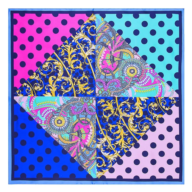 fashion small square 40% natural silk women scarves brand patchwork moon stars woman neck scarf for bags bandana hijab 60 60cm MENGLINXI 60cm*60cm 2021 New Luxury Brand Plaid Dot Women Twill Silk Print Scarf Small Square Scarves Headband Hijab