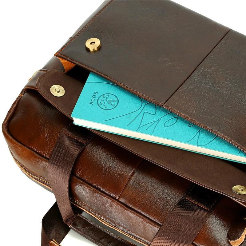 Купить с кэшбэком Bussiness Laptop Bag Men's Briefcases Genuine Leather Man Handbag Casual Totes Male Messenger Laptop Bag Men Lawyer Shoulder Bag