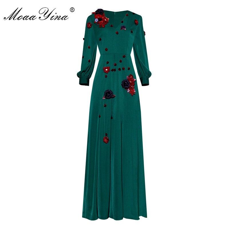 Moaa Yina, vestido de pasarela de diseñador a la moda, vestido de primavera para mujer, con cuello en V, manga farol, apliques de cristal, vestidos elegantes para fiesta de graduación