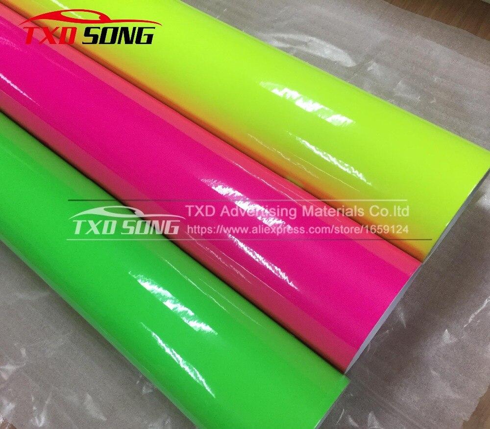 50 см * 152 см/лот флуоресцентная цветная виниловая пленка самоклеющаяся Автомобильная оберточная наклейка с 3 цветами s на выбор флуоресцентн...