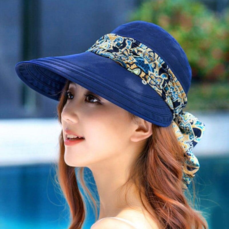 Casual mujer verano playa moda sombreros sol gorra con visera plegable sombrero antirrayos UV Chapeau Femme Dropshipping