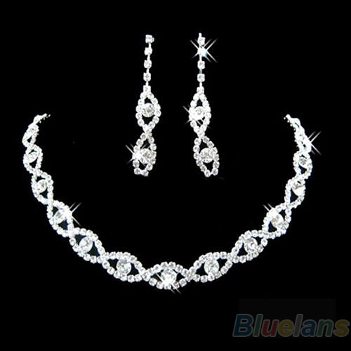 Bluelans Suntuoso Nupcial Do Casamento Prom Jóias Cristal Rhinestone Diamante Colar & Brinco Conjunto