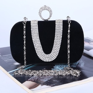 Luxury U Rhinestones Women Clutch Diamonds Metal Evening Bags Mini Chain Shoulder Purse Evening Bags For Evening Dress