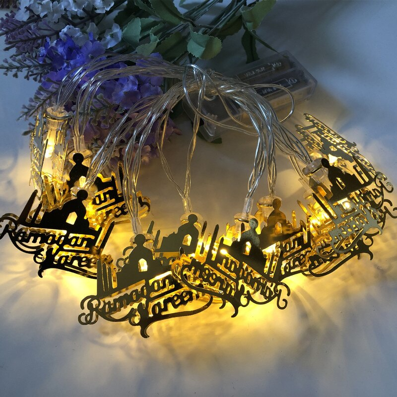 10 Uds LED Decoración de Ramadán Eid Mubarak decoración Ramadan Mubarak luz Led Ramadán Kareem decoración Feliz Eid Mubarak el Islam regalo