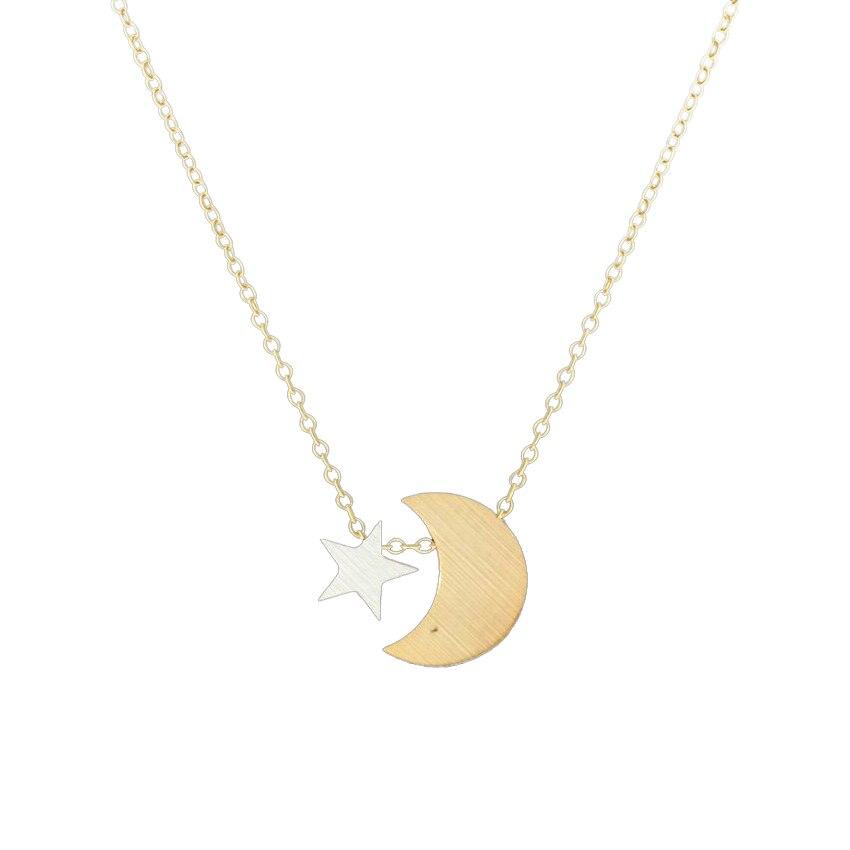 Delicate Crescent Moon Pequena Estrela Pingente Mulheres Colar Gargantilha de Aço Inoxidável Colar De Corrente Em Camadas Melhor Amigo Jóias Boho