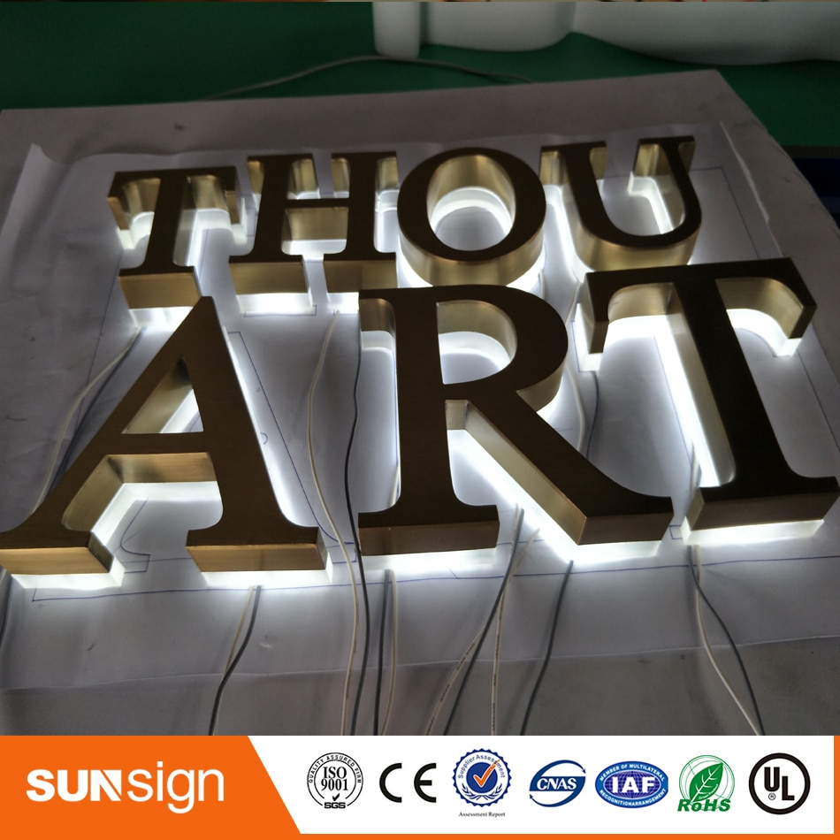 Factory Outlet Outdoor backlit stainless steel LED 3d letter sign logo недорого