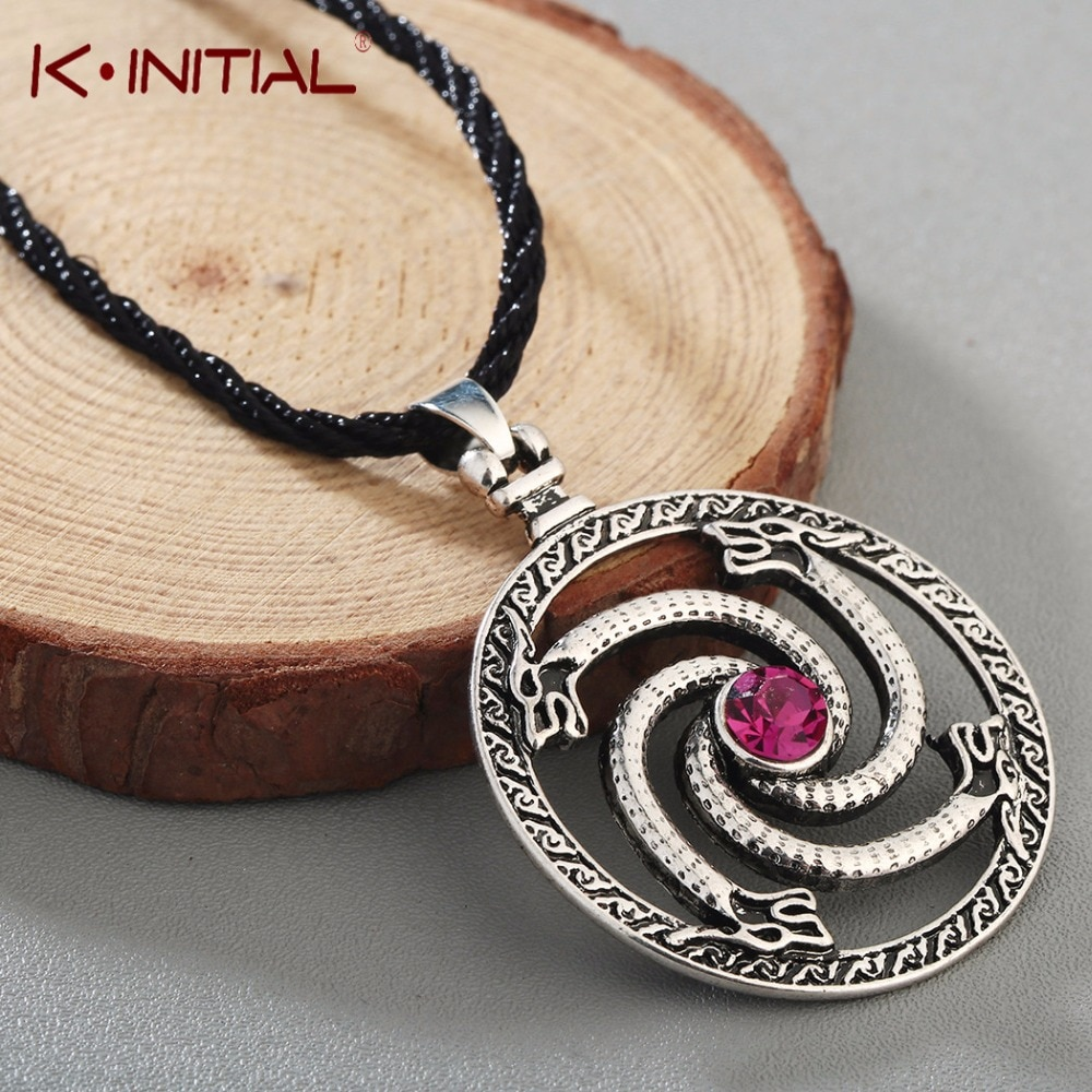 Kinitial Valknut Viking Slawischen Tier Wolfs mit Rot Stein Talisman Halsketten Charme Knoten Anhänger Halskette Bijoux Zubehör