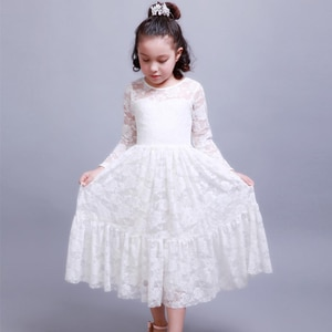 kids infant clothing girl princess party 2 3 4 5 6 7 to 10 years children dresses white lace dress girl party long sleeves