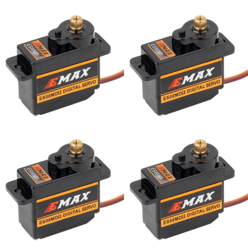 4 pces emax es08mdii es08md ii servo digital 12g/2.4 kg/de alta velocidade mini engrenagem metálica