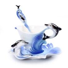 Tasse à café en émail coloré 3D dauphin   Tasse à café, os, thé, lait, Copo créative porcelaine, verres cadeau ami