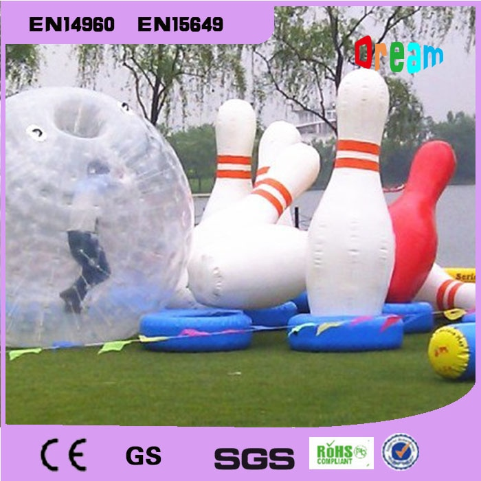 شحن مجاني 6 قطع و 1 قطعة Zorb الكرة نفخ البولينج كرات نفخ الإنسان البولينج Zorb الكرة ل الإنسان البولينج دبابيس