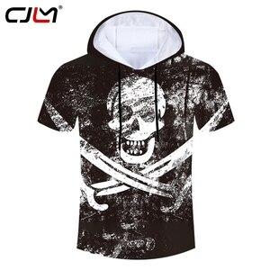 CJLM Unisex Hip Hop Skulls Hooded Tshirt Man Big Size Tee Shirt 3D Full Printed Black White Cross Sword Men's Street T-shirt