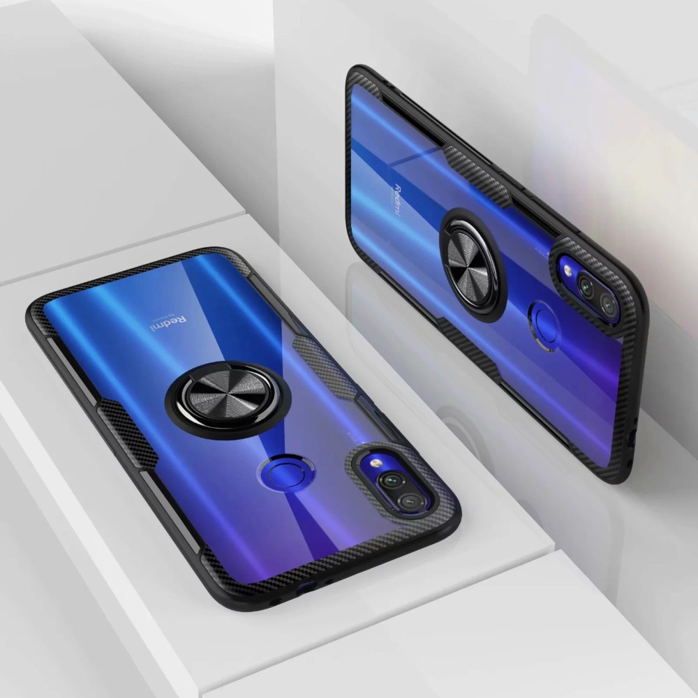 Funda de teléfono con anillo magnético transparente para coche PC + funda de silicona para Xiaomi Redmi Note 7 Pro Note7 7Pro 3/4 32/64/128 GB Xiomi