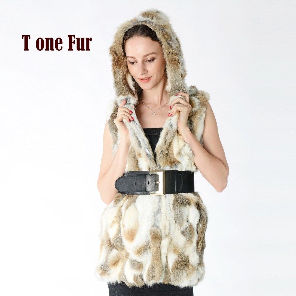 Nuevo chaleco de piel de conejo Rex auténtica con capucha para mujer, chaqueta de piel fina Abrigo de Piel de Conejo Rex para invierno, venta al por mayor de fábrica, chaleco de piel KNT272