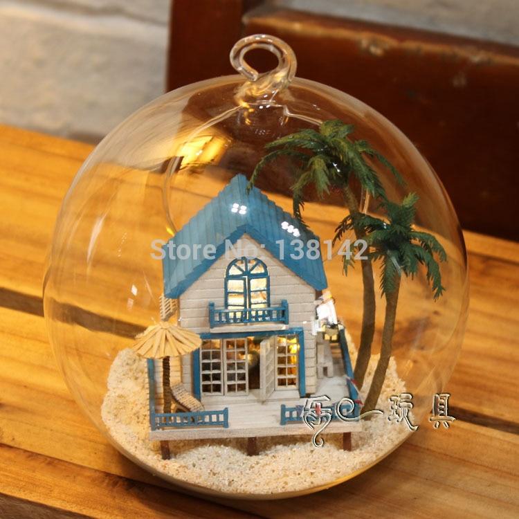 B002 diy doll house Glass ball miniature wooden dollhouse Toys Birthday Gift- Romantic Aegean Sea free shipping