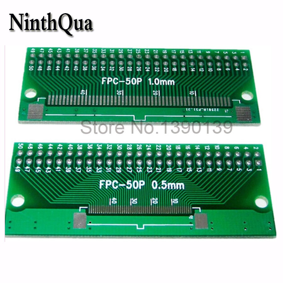 5 unids/lote 50P FFC placa adaptadora FPC 0,5 MM/1,0 MM paso a 2,45mm 50Pin Cable plano conector para placa PCB TFT LCD