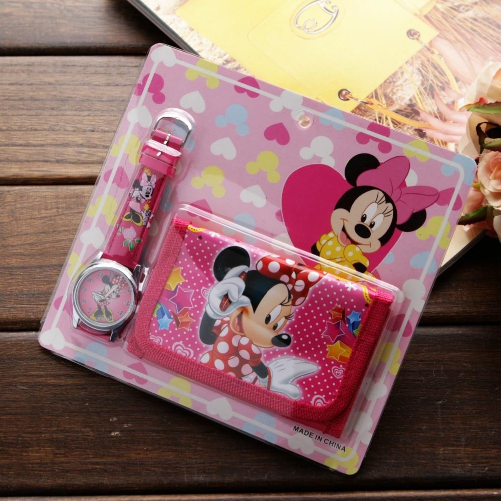 New Children Cartoon Wallet Watch Set Spiderman Mickey Minnie Watches Students Birthday Gifts Quartz
