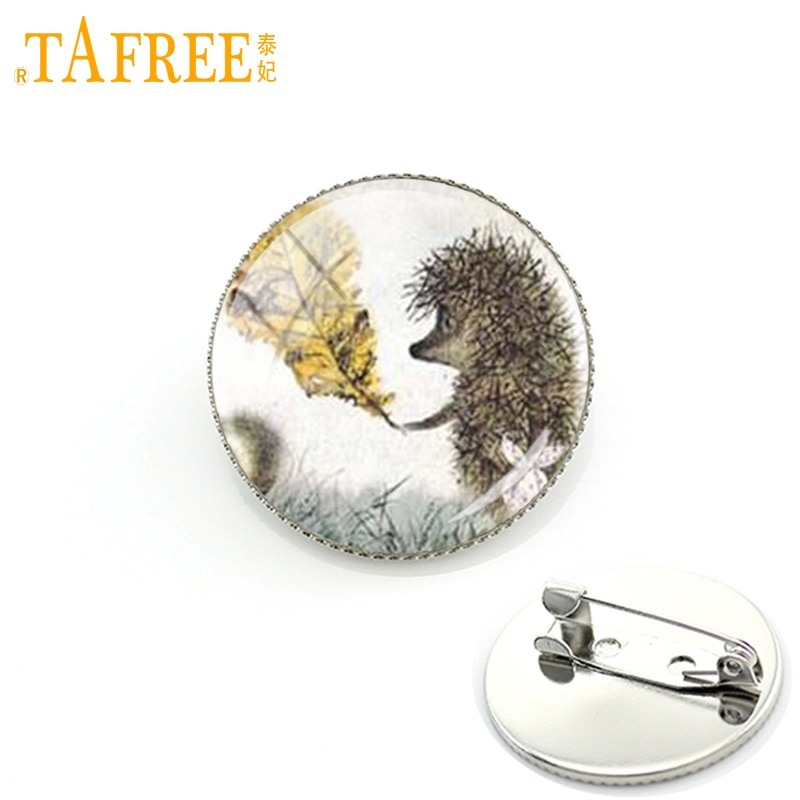 TAFREE Hedgehog In The Fog Brooch men women Pins for Handmade Fashion round Glass nacture cute anima