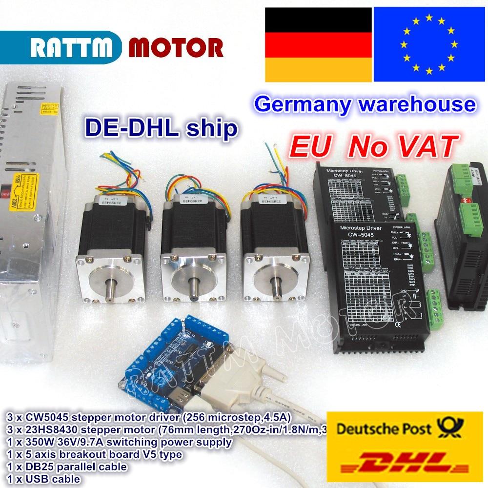 Комплект контроллеров ЧПУ для фрезерного станка с бесплатным НДС, 3 шт., шаговый двигатель NEMA23 270oz-in 1.8N и драйвер постоянного тока 50 в, микрошаг 256 A, ток