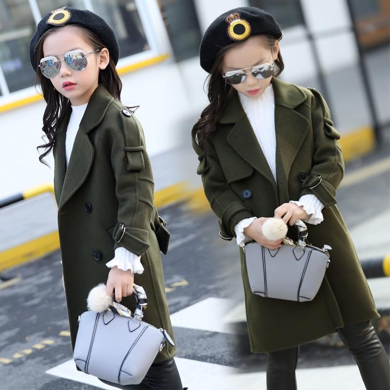 Girl Coats With belt Overcoats Children Fashion Outerwear Girls outerwear wool  autumn long sleeve kids overcoat 3 7 9 12 years enlarge