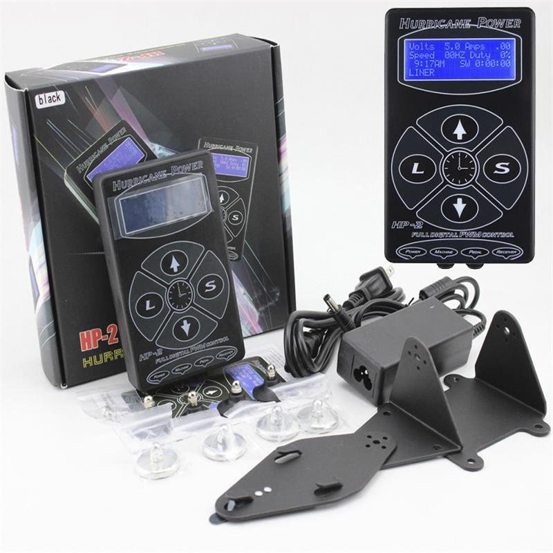Superventas en 2017, negro HP2 Hurricane HP-2, fuente de alimentación Digital Dual para tatuaje con pantalla LCD