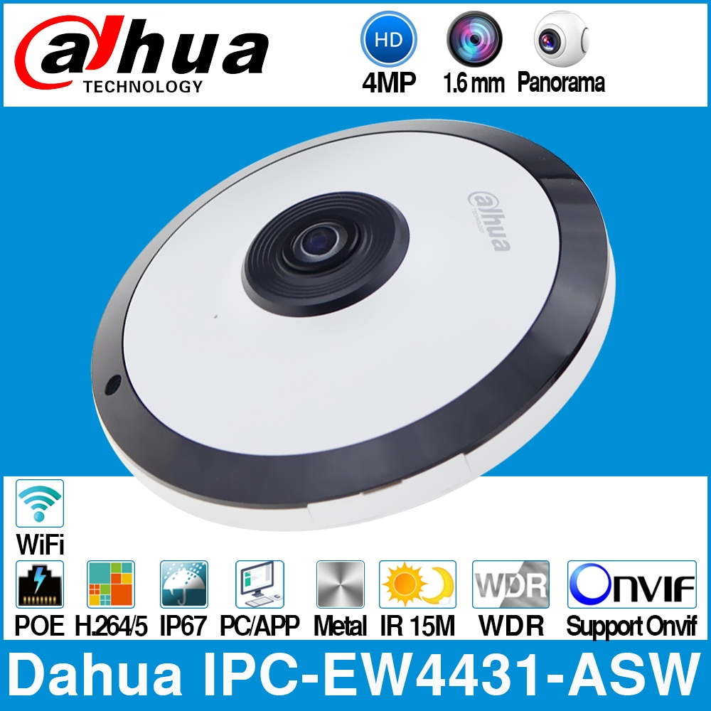 Dahua IPC-EW4431-ASW 4MP Panorama 180 Degree POE WIFI Fisheye IP Camera Built-in MIC SD Card Slot Audio Alarm In/Out Interface