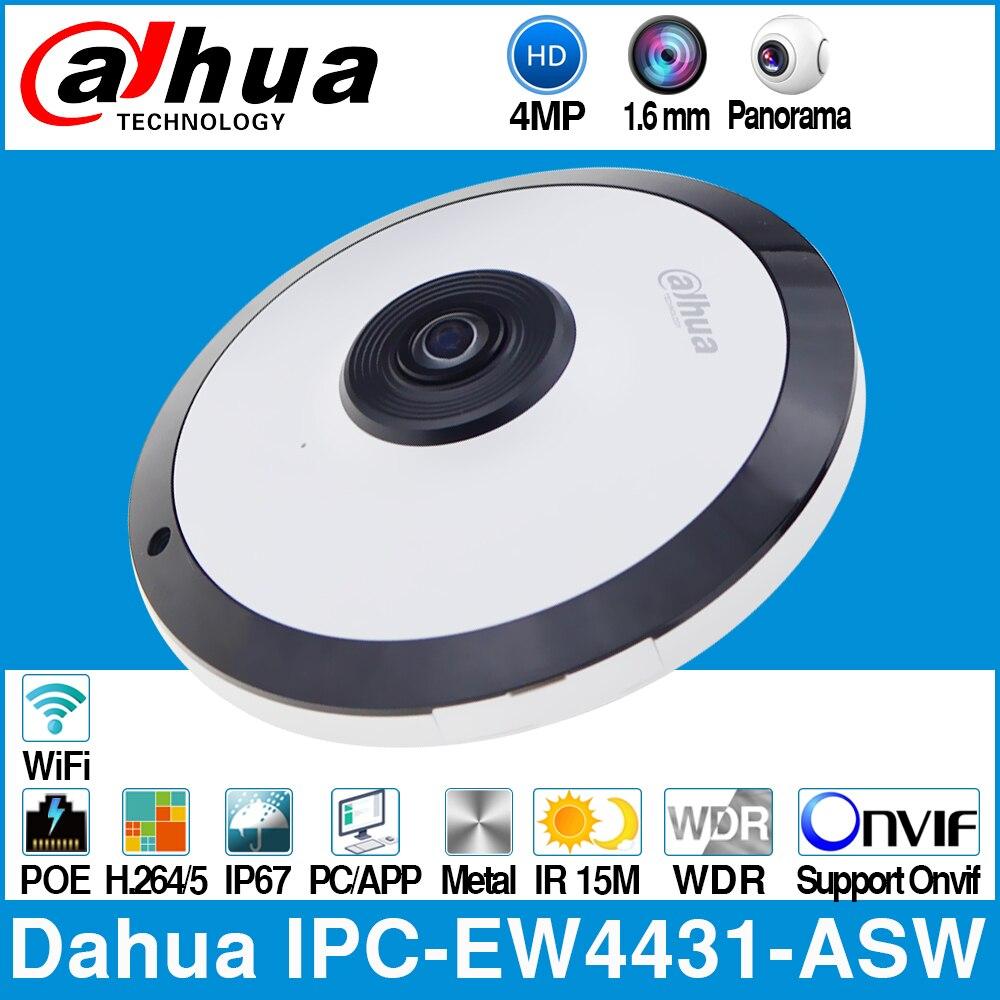Dahua IPC-EW4431-ASW 4mp panorama 180 graus poe wifi fisheye ip câmera built-in microfone slot para cartão sd alarme de áudio em/para fora interface